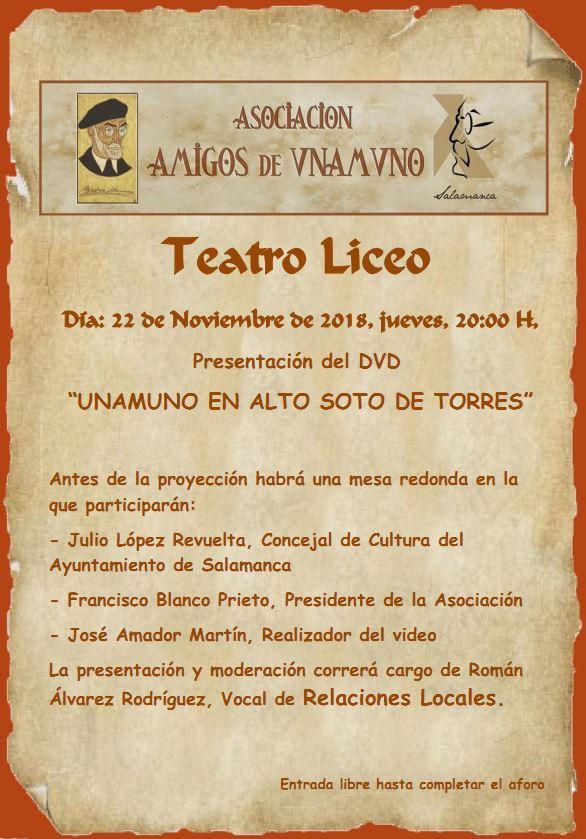 UNAMUNO EN ALTO SOTO DE TORRES @ Teatro Liceo | Salamanca | Castilla y León | España